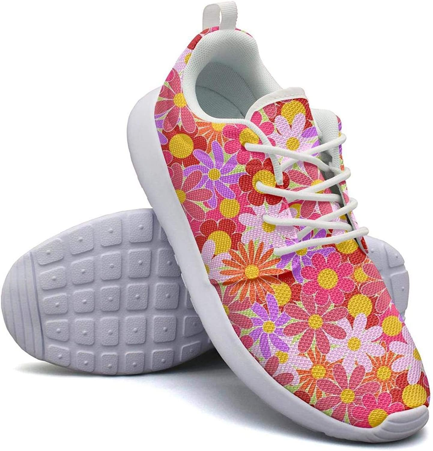 CHALi99 Casual Females Lightweight Mesh shoes Red Daisy Floral Sticker Sneakers Workout Lace-Up