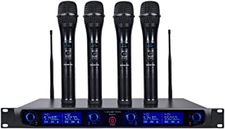Sound Town 4 Channels Professional UHF Wireless Microphone System with Rack Mountable..