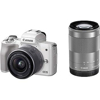 Canon ミラーレス一眼カメラ EOS Kiss M ダブルズームキット ホワイト EOSKISSMWH-WZK