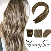 YoungSee 14inch Remy Tape in Hair Extensions Human Hair Balayage Medium Brown with Platinum Blonde 100% Real Hair Straight Skin Weft Tape Hair Extensions 20pcs 50G