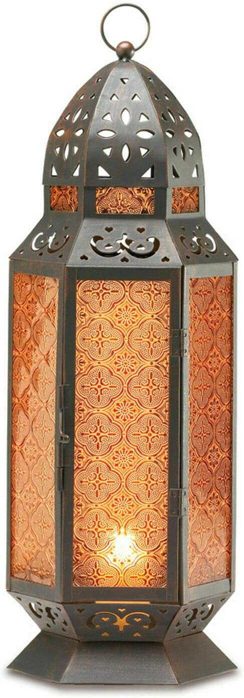"""Taczotech Lantern 19"""" Columbus Mall Tall Moroccan-Style Safety and trust Lamp Home Candle Déco"""