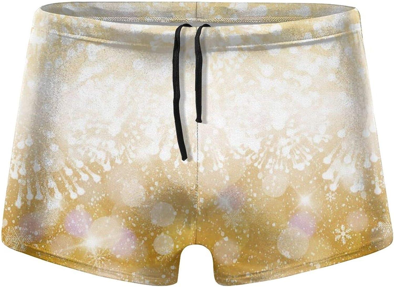 Golden Firework Men's Swimming Trunks Fitness Swimwear Boxer Pants Board Shorts