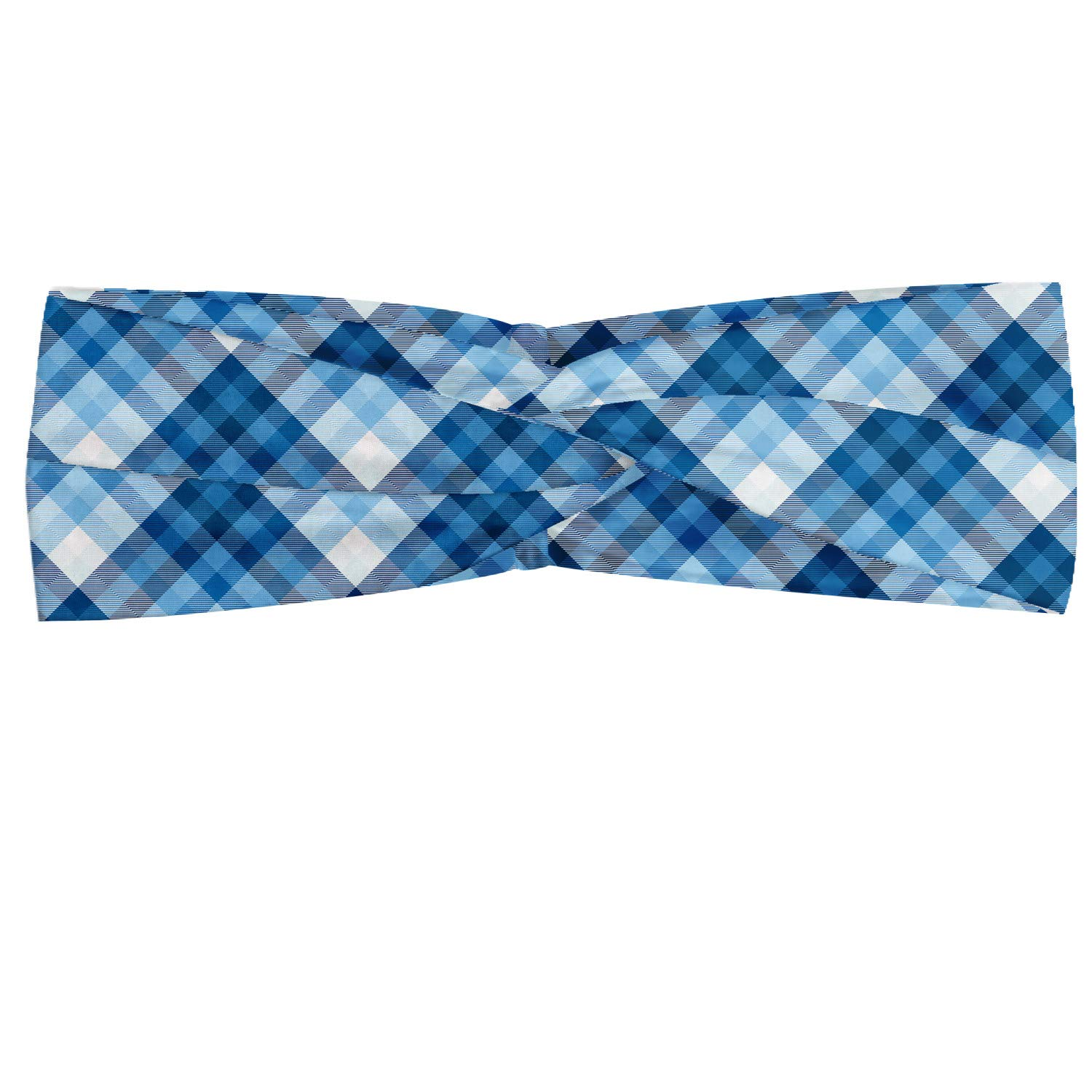 Ambesonne Navy Plaid Headband, Abstract Diagonal Lines Overlapped Squares Illustration, Elastic and Soft Women's Bandana for Sports and Everyday Use, Sky Blue Sky Blue