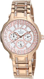 Venice SV4012-IPR-W Stainless Steel Stones Embellished Round Analog Watch for Women - Gold