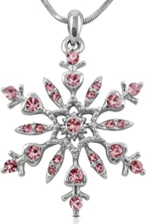 Crystal Snowflake Pendant Necklace Winter Bridal Fashion Christmas Holiday Jewelry Gifts for Girls, Teens, Women