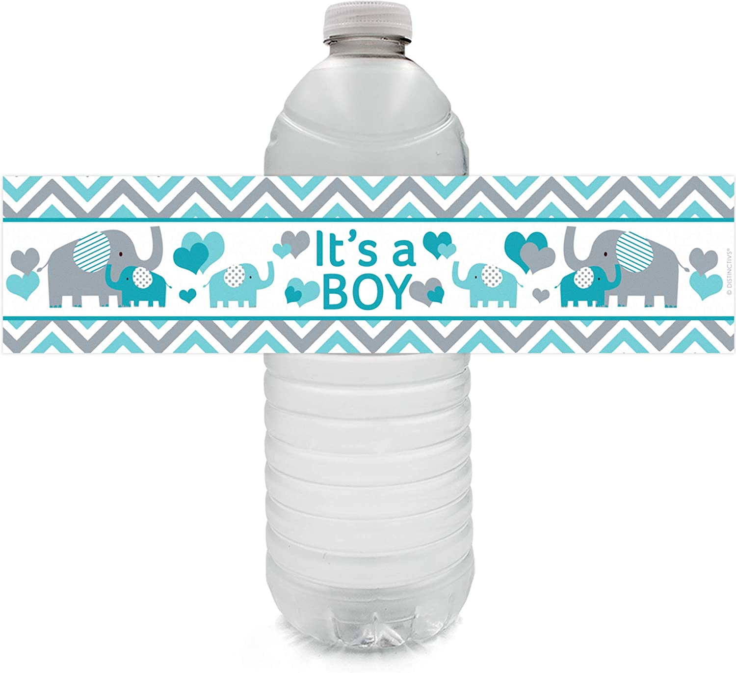 Teal Blue Cheap sale Elephant Boy Baby Shower ! Super beauty product restock quality top! Water Labels Bottle Stic 24 -