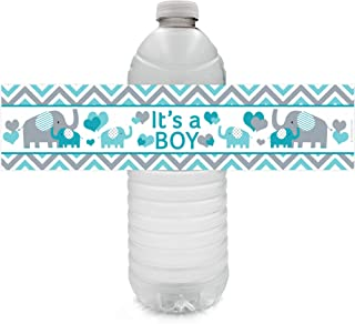 Teal Blue Elephant Boy Baby Shower Water Bottle Labels - 24 Stickers