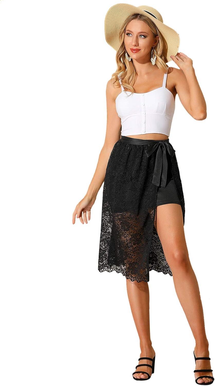 Allegra K Women's Floral Lace Sheer Side Slits Elastic Waist Stretchy Skirt
