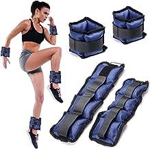 BAKAJI Set van 4 polsgewichten en kuitgewrichten, 2 kg + 1 kg, aerobic fitness krachttraining van neopreen met klittenband...