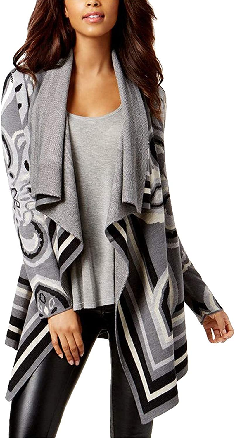 Bar III Womens Jacquard Drapey Cardigan Sweater