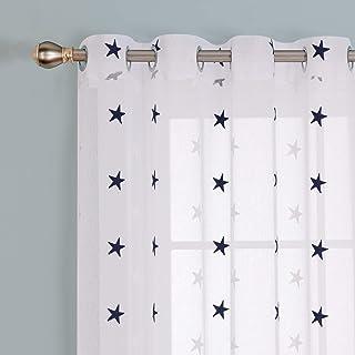 comprar comparacion Deconovo - Cortina Decorativa con Bordados, Voile, Aspecto de Lino, Tela, Azul, 245 x 140 cm