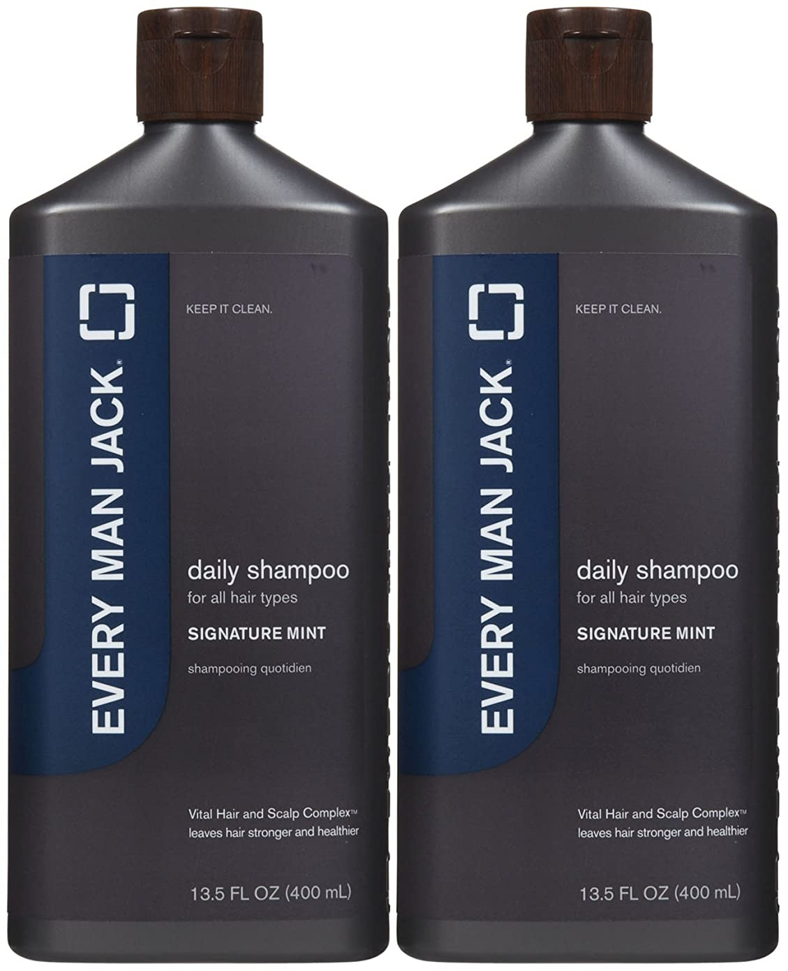 バナー均等に相手Every Man Jack Daily Signature Mint Shampoo for All Hair Types, 13.5 oz, 2 pk by Every Man