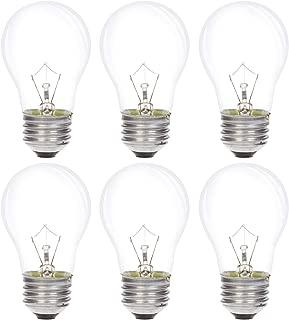Simba Lighting Appliance Light Bulb A15 40W (6 Pack) Incandescent Mini-Standard Shape with E26 Standard Medium Screw Base for Refrigerators, Ovens, 110V 120V 130V, Dimmable, 2700K Warm White