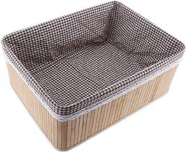 Baosity Rectangle Home House Kitchen Office Study Natural Bamboo Storage Basket Box - 40x30x16cm