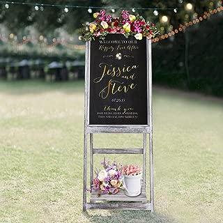 RHF Wedding Chalkboard Signs,Rustic Wedding Decorations,A-frame Easel Chalkboard Sign with Display Shelf,Vintage Large Chalkboard Easel, Freestanding Easel Message Board (44 Inch,White), 1 Set