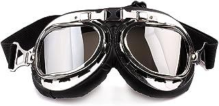 Jzhen Motorrad Schutzbrille,Vintage Fliegerbrille Sport Schutzbrille Wind Staubschutz