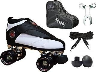 Epic Skates Black & White Evolution Quad Roller Jam Speed Skates & Bag Bundle! (Mens 6)