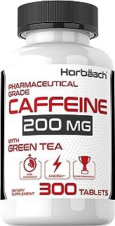 Caffeine Pills 200mg with Green Tea   300 Tablets   Vegetarian, Non-GMO & Gluten Free   by Horbaach