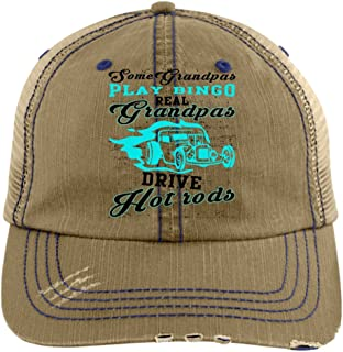 Grandpas Play Bingo Hat, Real Grandpas Drive Hot Rods Trucker Cap