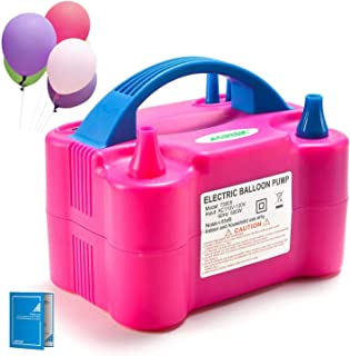Electric Air Balloon Pump, AGPTEK 110V 600W Rose Red Portable Dual Nozzle Inflator/Blower..