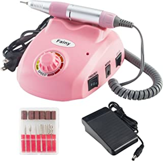 Fainy 30000RPM Pro Electric Nail Drill Machine Finger Toe Nail Care Pedicure Manicure Kits File Drill Bits Sanding Band with Foot Pedal,Set Low Noise Low Vibration Au Plug