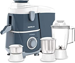 Havells Vitonica Juicer Mixer Grinder with 3 Stainless Steel Jar (White and Blue)