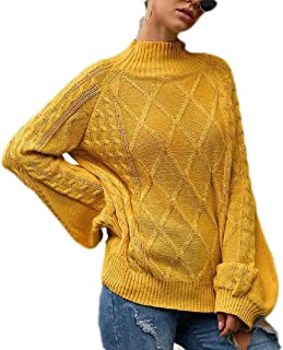 Womens Loose Long Lantern Sleeve Round Neck Pullover Knit Sweater