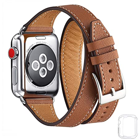 Bestig Band Compatible for Apple Watch 38mm 40mm 42mm 44mm, Genuine Leather Double Tour Designed Slim Replacement Strap for iWatch Series 6 SE 5 4 3 2 1 (Brown Band+Silver Connector, 38mm 40mm)