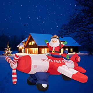 Kinbor 8 Foot Christmas Inflatable Santa Claus Flying Airplane with Movable Propeller Blade Yard Decoration