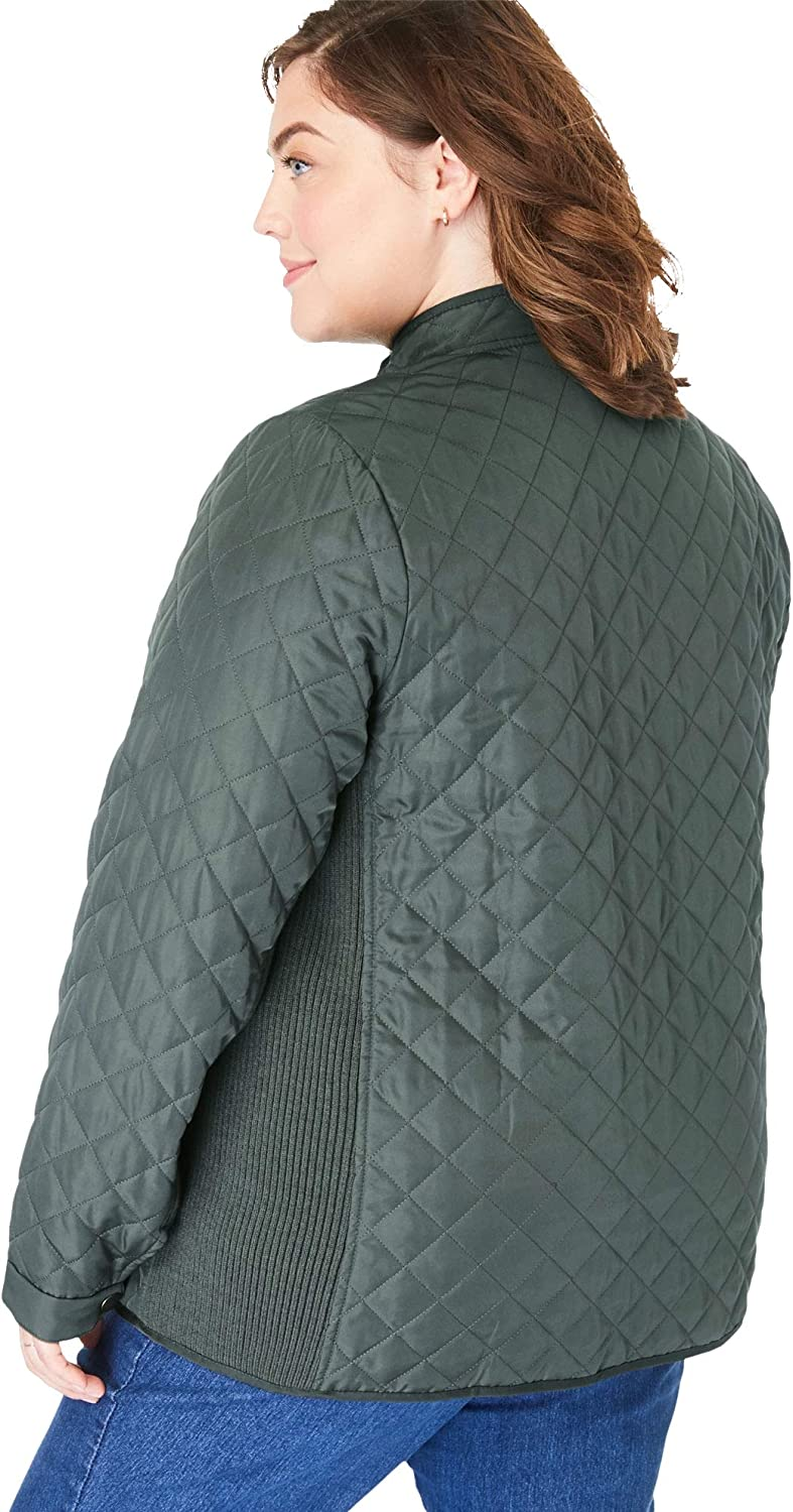 Woman Within Women's Plus Size Zip-Front Quilted Jacket