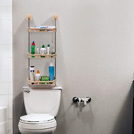 Livzing No Drilling Multipurpose Space Saver 3 Tier over The Toilet Wall Mount PP Storage Rack Shelf Organizer with Magic Sticker for Shower Kitchen Bathroom Basket (Yellow, 30 x 15 x 81 cm)