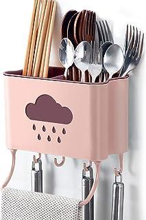 IWTTWY Cuisine Rangement et Organisation Boîte Mural Support de Cuisine Ustensiles et Accessoires (Rose)