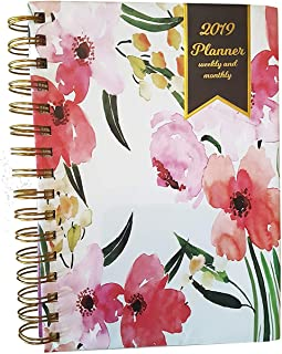 """2019 Calendar Year Weekly Planner & Monthly Planner with Hard Cover, 6"""" x 8"""", with Two Stickers Pages"""