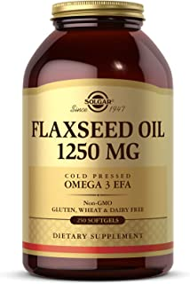 Solgar Flaxseed Oil 1250 mg, 250 Softgels - Organic, Cold-Pressed Omega 3 Essential Fatty Acids - Supports Heart, Immune &...