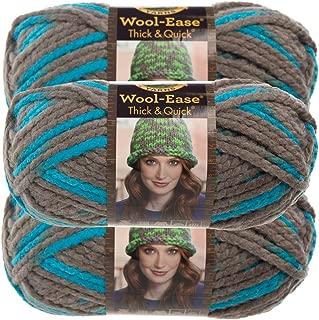 Lion Brand Yarn (3 Pack Wool Ease Super Chunky Yarn for Knitting Crocheting Soft Blue Jay Yarn Bulky #6