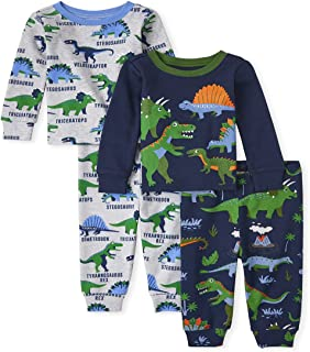 The Children's Place Baby Toddler Boys Dino Snug Fit Cotton Pajamas 2-Pack