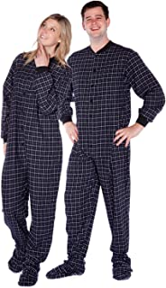 Black & White Windowpane Plaid Cotton Flannel Adult Footed Onesie Pajamas