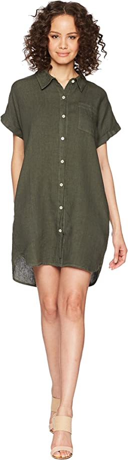 Allen Allen Short Sleeve Button Front Dress