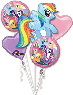 Anagram My Little Pony Birthday Balloon Bouquet 5 Count, Multicolor