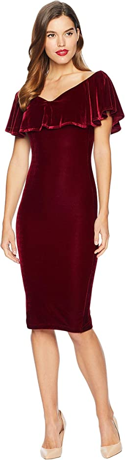 Velvet Draped Sophia Wiggle Dress