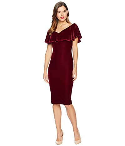 Unique Vintage Velvet Draped Sophia Wiggle Dress (Burgundy Red) Women