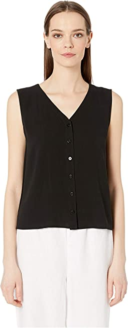 Silk Georgette Crepe V-Neck Sleeveless Top