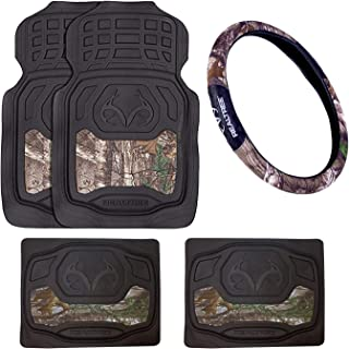 Realtree Outfitters Camo Car Truck SUV Front & Rear Seat Heavy Duty Trim-to-Fit Rubber Floor Mats & Steering Wheel Cover - 5PC