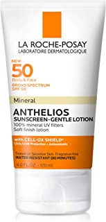 La Roche-Posay Anthelios Mineral Sunscreen Gentle Lotion Broad Spectrum SPF 50, Face and Body Sunscreen with Zinc Oxide and Titanium Dioxide, Oil-Free