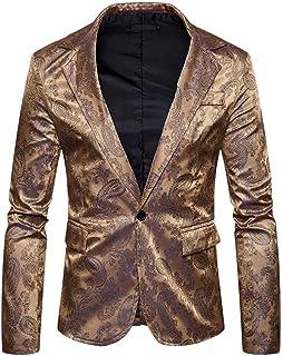 Men's Leisure Suit Jacket Stylish One Button Paisley Modern Casual Slim Fit Blazer Suit Jackets Lapel Long Sleeve Blazer M...