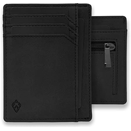 AKIELO RFID Blocking Credit Card Holder with Zip Coin Pocket and Gift Box – Slim Wallets for Men – Minimalist Card Wallet (Bravo Collection)