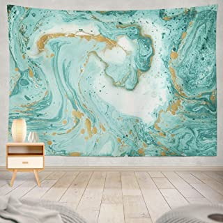 Summor Green Color Colorful Watercolor Stain Grunge Marble Gold Turquoise Color Green Art Nature Home Decorations for Living Room Bedroom Dorm Decor in 80
