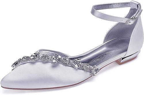 LHWAN femmes mariage apparteHommests satin cheville bracelet chaussures de soiree du soir chaîne de cristal bal partie de mariage chaussures de cour plat