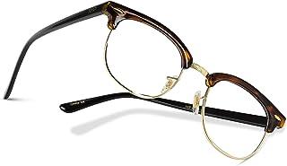 Vintage Inspired Blue Light Blocking Glasses Classic Half Frame Horn Rimmed Clear Lens