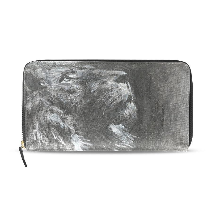 横たわる家畜感謝するAOMOKI 財布 レディース 長財布 大容量 ライオン 絵 ブラック ラウンドファスナー PUレザー 幅20*丈11cm